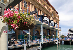 Auckland:  The porches and Harbourside Restaurant in the landmark Ferry Building.