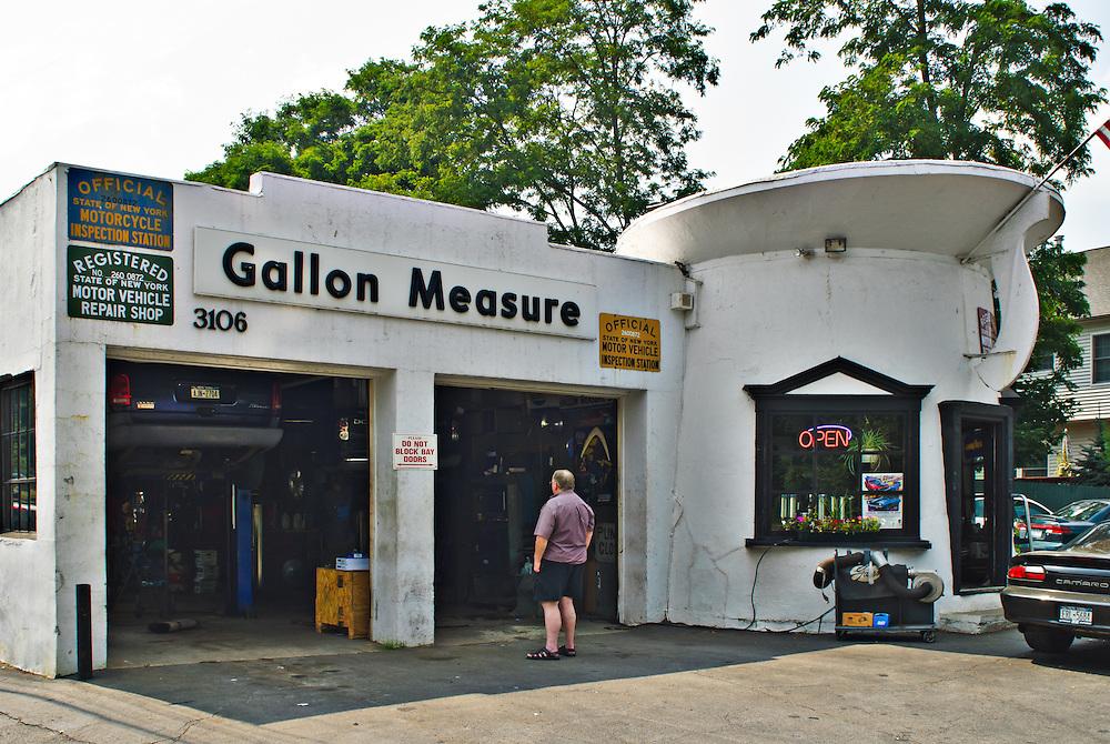 America's vanishing themed gas station. Gallon Measure service station. Buchanan, NY
