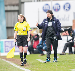 Dundee's manager Paul Hartley.<br /> half time : Dundee 0 v 1 Falkirk, Scottish Championship game played today at Dundee's Dens Park.<br /> &copy; Michael Schofield.