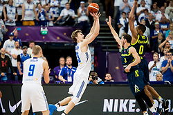Lauri Markkanen of Finland vs Goran Dragic of Slovenia and Anthony Randolph of Slovenia during basketball match between National Teams of Finland and Slovenia at Day 3 of the FIBA EuroBasket 2017 at Hartwall Arena in Helsinki, Finland on September 2, 2017. Photo by Vid Ponikvar / Sportida