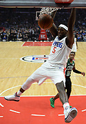 LA Clippers forward Montrezl Harrell #5 gets past Boston Celtics guard Terry Rozier #12 for a dunk in the first half. The Los Angeles Clippers played the Boston Celtics in a regular season NBA matchup in Los Angeles, CA 1/025/2018 (Photo by John McCoy, Los Angeles Daily News/SCNG)