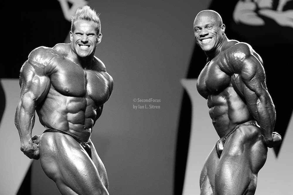 Phil Heath and Jay Cutler comparisons at the 2010 Mr. Olympia finals in Las Vegas.