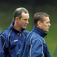 Billy Stark, appoimted manager of St Johnstone this morning takes charge of his first training session, he is pictured with Billy Kirkwood<br /><br />Picture by Graeme Hart<br />Copyright Perthshire Picture Agency<br />Tel: 01738 623350  Mobile: 07990 594431