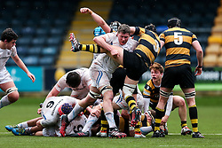 George Strainge of Wasps U18 is challenged by Lewis Pearson of Exeter Chiefs U18 - Rogan Thomson/JMP - 16/02/2017 - RUGBY UNION - Sixways Stadium - Worcester, England - Wasps U18 v Exeter Chiefs U18 - Premiership Rugby Under 18 Academy Finals Day 3rd Place Play-Off.