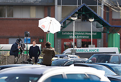 © Licensed to London News Pictures. 06/03/2018. Salisbury, UK. U.S. TV network NBC broadcasts from outside Salisbury District hospital where former Russian spy Sergei Skripal and his daughter were taken after becoming ill with suspected poisoning. The couple where found unconscious on bench in Salisbury shopping centre. Specialist units have been called in to deal with any possible contamination. Photo credit: Peter Macdiarmid/LNP