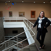 August 20, 2012 - Purchase, NY : Paola Morsiani, the recently appointed director of the Neuberger Museum of Art at SUNY Purchase, poses for a portrait in the second floor gallery space of the museum. CREDIT: Karsten Moran for The New York Times