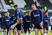 Derby County defender Matthew Clarke  in the warm up during the EFL Sky Bet Championship match between Derby County and Blackburn Rovers at the Pride Park, Derby, England on 8 March 2020.