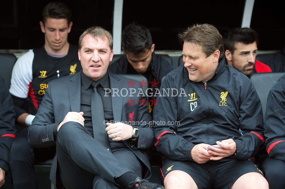 LONDON, ENGLAND - Sunday, May 12, 2013: Liverpool's manager Brendan Rodgers and assistant manager Colin Pascoe before the Premiership match against Fulham at Craven Cottage. (Pic by David Rawcliffe/Propaganda)