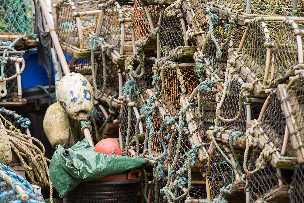 UK, England, Yorkshire - Fish and lobster traps in a small fishing village called Robin Hood's Bay, located on the coast of North Yorkshire, England.