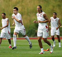 Photo: Chris Ratcliffe.<br />England Training Session. FIFA World Cup 2006. 29/06/2006.<br />Rio Ferdinand (R) and John Terry in training.