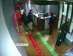 October 10, 2018 - °Stanbul, Türkiye - A still image from a security cam claims to show Saudi people arriving at Ataturk Airport in Istanbul.  It is claimed that these people are Saudi intelligence officers  who killed Jamal Khashoggi. (Credit Image: © Depo Photos via ZUMA Wire)