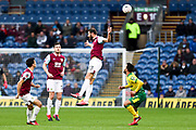 Burnley defender Erik Pieters (23) heads the ball during the The FA Cup match between Burnley and Norwich City at Turf Moor, Burnley, England on 25 January 2020.