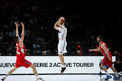 12.09.2014, City Arena, Madrid, ESP, FIBA WM, Frankreich vs Serbien, Halbfinale, im Bild France´s Heurtel (C) and Serbia´s Bircevic (L) and Markovic // during FIBA Basketball World Cup Spain 2014 semifinal match between France and Serbia at the City Arena in Madrid, Spain on 2014/09/12. EXPA Pictures © 2014, PhotoCredit: EXPA/ Alterphotos/ Victor Blanco<br /> <br /> *****ATTENTION - OUT of ESP, SUI*****
