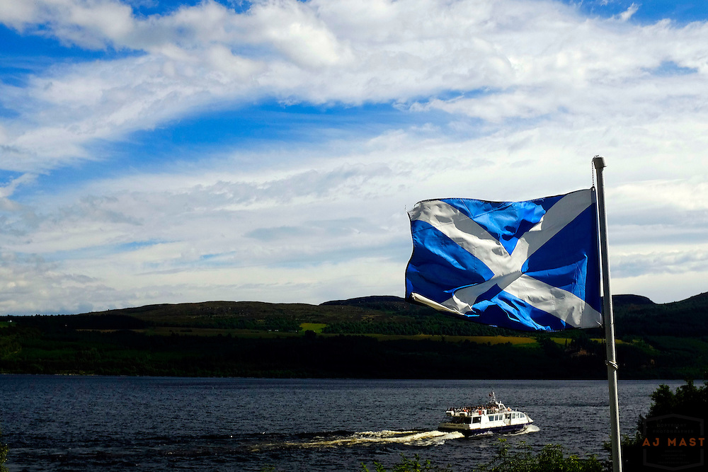 Scottish Flag at Loch Ness, Scotland, U.K. July 18, 2014. (Photo by AJ Mast)
