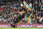 Aston Villa goalkeeper (on loan from Manchester United) Sam Johnstone (1) under pressure from Wolverhampton Wanderers striker (on loan from Bournemouth) Benik Afobe (19) during the EFL Sky Bet Championship match between Aston Villa and Wolverhampton Wanderers at Villa Park, Birmingham, England on 10 March 2018. Picture by Dennis Goodwin.