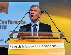 Leader of the Scottish Liberal Democrats Willie Rennie delivers his keynote speech at the party's autumn conference in Dunfermline.<br /> <br /> &copy; Dave Johnston / EEm
