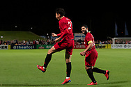 SYDNEY, AUSTRALIA - APRIL 10: Shanghai SIPG FC player You Hai (21) and Shanghai SIPG FC player Hulk (10) celebrate the goal of You Hai at The AFC Champions League football game between Sydney FC and Shanghai SIPG FC on April 10, 2019, at Netstrata Jubilee Stadium in Sydney, Australia. (Photo by Speed Media/Icon Sportswire)