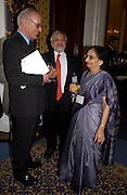 Lord Norton of Louth, Professor Lord Parekh and Lady Parekh. Political Studies Association Awards 2004. Institute of Directors, Pall Mall. London SW1. 30 November 2004.  ONE TIME USE ONLY - DO NOT ARCHIVE  © Copyright Photograph by Dafydd Jones 66 Stockwell Park Rd. London SW9 0DA Tel 020 7733 0108 www.dafjones.com