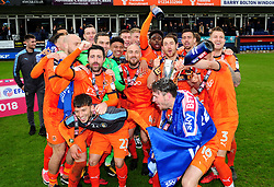 Luton Town Players celebrate promotion to to League one, finishing 2nd in League 2 - Mandatory by-line: James Healey/JMP - 28/04/2018 - FOOTBALL - Kenilworth Road - Luton, England - Luton Town v Forest Green Rovers - Sky Bet League Two