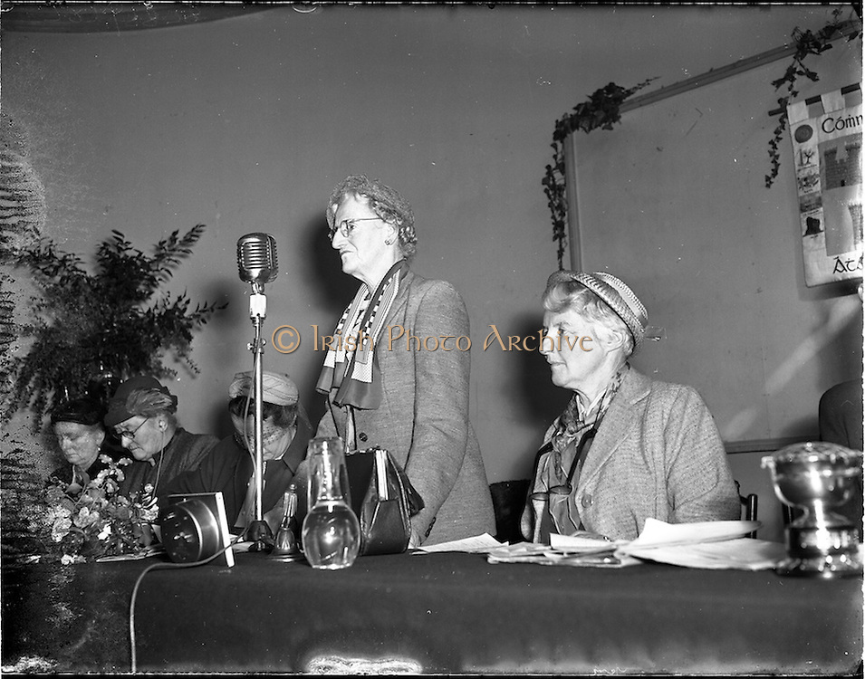 29/03/1955 <br /> 03/29/1955<br /> 29 March 1955<br /> Irish Countrywomen's Association (ICA), Annual General Meeting, at the Mansion House, Dublin. Mrs Olivia Hughes, Fethard, Co. Tipperary, President of ICA.