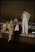 JOHAN LUNDIN; ANDREW RICHARDSON; RASMUS OSTEBRO, Andrew Logan's Alternative Miss World 2014. Shakespeare's Globe, London. 18 October 2014.