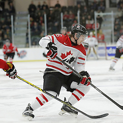 COBOURG, - Dec 16, 2015 -  Game #9 - Canada East vs Canada West at the 2015 World Junior A Challenge at the Cobourg Community Centre, ON. Derek Topatigh #6 of Team Canada East skates with the puck during the first period<br /> (Photo: Amy Deroche / OJHL Images)