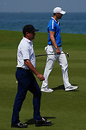 Scott Hend (AUS) and Martin Kaymer (GER) on the 9th during Round 3 of the Oman Open 2020 at the Al Mouj Golf Club, Muscat, Oman . 29/02/2020<br /> Picture: Golffile | Thos Caffrey<br /> <br /> <br /> All photo usage must carry mandatory copyright credit (© Golffile | Thos Caffrey)