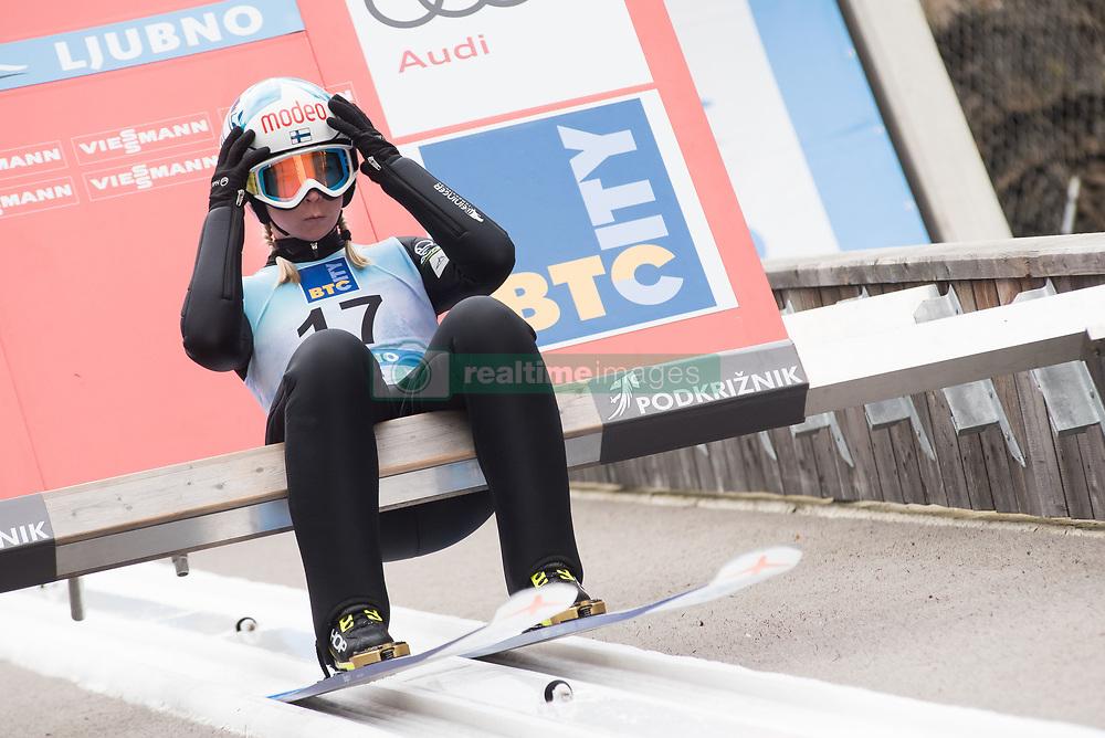 February 8, 2019 - Ljubno, Savinjska, Slovenia - Julia Kykkaenen of Finland on first competition day of the FIS Ski Jumping World Cup Ladies Ljubno on February 8, 2019 in Ljubno, Slovenia. (Credit Image: © Rok Rakun/Pacific Press via ZUMA Wire)