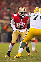 12 January 2013: Linebacker (99) Aldon Smith of the San Francisco 49ers in game action against the Green Bay Packers during the first half of the 49ers 45-31 victory over the Packers in an NFL Divisional Playoff Game at Candlestick Park in San Francisco, CA.