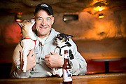 Chip George and dogs Kendrick and Buster at the Cave in Chapel Hill, NC.