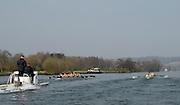 Henley, GREAT BRITAIN, OUWBC vs CUWBC,The Newton Women's Boat Race.  OUWBC [left] and CUWBC [right] power down the Henley Reach,followed by Umpire's Launch. 2011 Henley Boat Races, Temple Island, Henley Reach, River Thames, England  Sunday  27/03/2011.  [Mandatory Credit, Karon Phillips /Intersport-images]..Crews: .CUWBC: .Bow Elizabeth POLGREEN ,Izzi BOANAS-EVANS , Anna KENDRICK, Ruth BLACKSHAW, Tamara HORNICK, Pernille THUESEN, Fay SANDFORD, Stroke Cath WHEELER, Cox Kate RICHARDS..OUWBC:.Bow Nicole SCHEUMANN, Canstance SPOOR, Harriet KEANE, Natalie REDGRAVE, Eugenia GOSSEN, Sonia BRACEGIRDLE, Eleanor PIGGOTT, Stroke Brianna STUBBS, Cox Nathaniel UPTON..