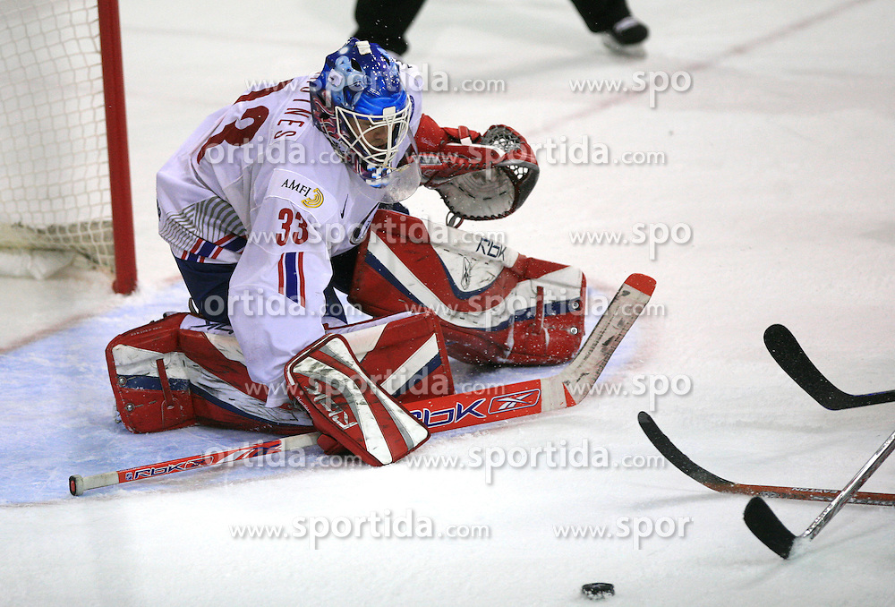 Goalkeeper Pal Grotnes at play-off round quarterfinals ice-hockey game Norway vs Canada at IIHF WC 2008 in Halifax,  on May 14, 2008 in Metro Center, Halifax, Nova Scotia,Canada. (Photo by Vid Ponikvar / Sportal Images)
