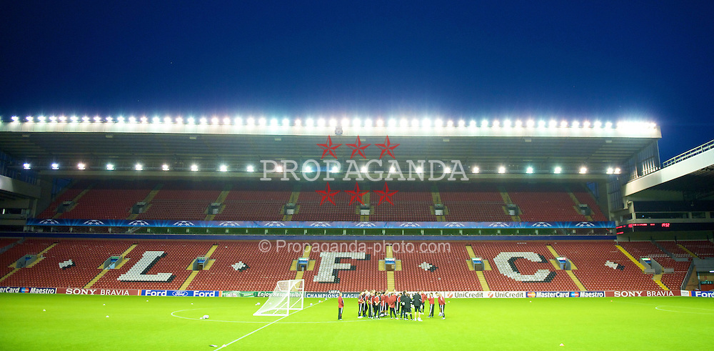 LIVERPOOL, ENGLAND - Tuesday, September 15, 2009: Debreceni's players training at Anfield ahead of the UEFA Champions League Group E match against five times champions Liverpool. (Photo by David Rawcliffe/Propaganda)