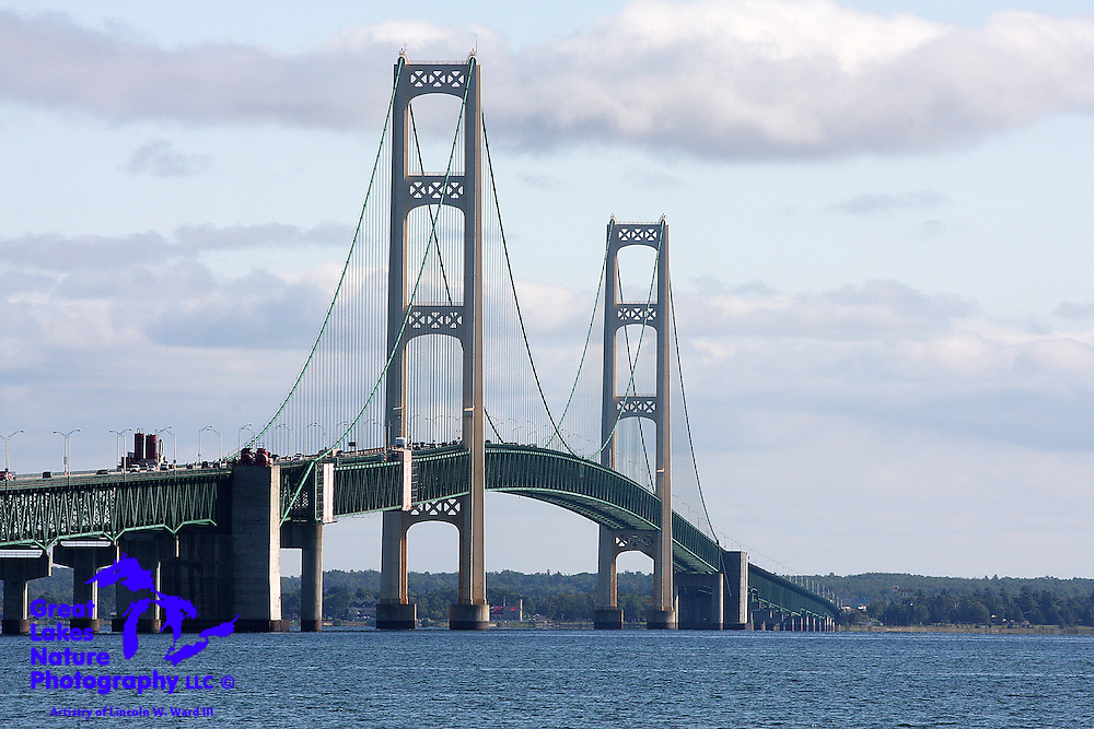 Even though I grew up in Michigan, and have viewed and driven over it countless times, I think I will never lose my sense of amazement concerning the five mile long Mackinac Bridge. Even setting aside the still nearly incomprehensible engineering feat that created it, I have long considered this bridge to be one of the most beautiful man-made creations in the world. I took this photograph in August, 2009, just shy of the Mighty Mac's 52nd service anniversary.