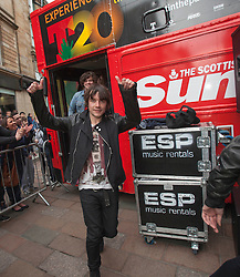 Kieran leaving. T in the Park Roadshow with The View at the first performance at the top of Buchanan Street..© Michael Schofield..