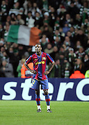 A dejected Eric Abidal of Barcelona. Celtic v Barcelona, Uefa Champions League, Knockout phase, Celtic Park, Glasgow, Scotland. 20th February 2008.