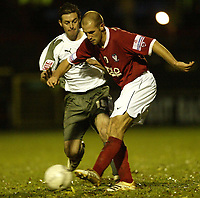 Photo: Aidan Ellis.<br /> York City v Bristol City. The FA Cup. 11/11/2006.<br /> Bristol's Alex Russell challenges York's Craig Farrell
