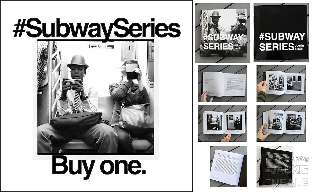 Signed Copy Of #SubwaySeries-$55.00 <br /> + shipping/handling<br /> Local delivery available<br /> <br /> #SubwaySeries is a black and white experimental photo essay taken on the subways of New York City and is technological exploration turned visual anthropological study. Publishing of #SubwaySeries was partially funded through a crowd-funding Hatchfund.org campaign. Purchase online http://www.subwayseries.info, at Saint Seneca Store, Rought Trade Records NYC, or contact Jackie directly