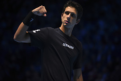 November 13, 2017 - London, England, United Kingdom - Marcelo Melo of Brazil celebrates in the Doubles match against Ivan Dodig of Croatia and Marcel Granollers of Spain during day two of the Nitto ATP World Tour Finals at O2 Arena, London on November 13, 2017. (Credit Image: © Alberto Pezzali/NurPhoto via ZUMA Press)