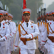 A military honour guard marches at dawn outside the Ho Chi Minh Mausoleum in Hanoi, Vietnam.