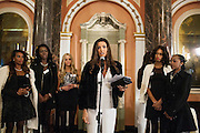 Miss Lebanon gives a speech.<br /> The rememberance service in memory of Maria Jose Alvaro - Miss Honduras - who was murdered along with her sister the week before arriving in London.
