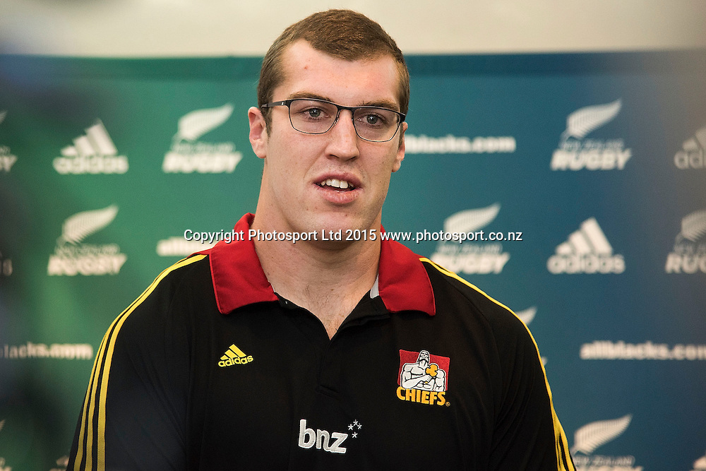 Chiefs' Brodie Retallick speaks to the media after re-signing for four more years during a press conference at the New Zealand Rugby Union HQ in Wellington on Wednesday the 27th of May 2015. Photo by Marty Melville / www.Photosport.co.nz