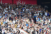 Goal - The Fulham fans celebrate after Aleksandar Mitrovic (9) of Fulham scored a goal to give a 0-1 lead to the away team during the Premier League match between Bournemouth and Fulham at the Vitality Stadium, Bournemouth, England on 20 April 2019.