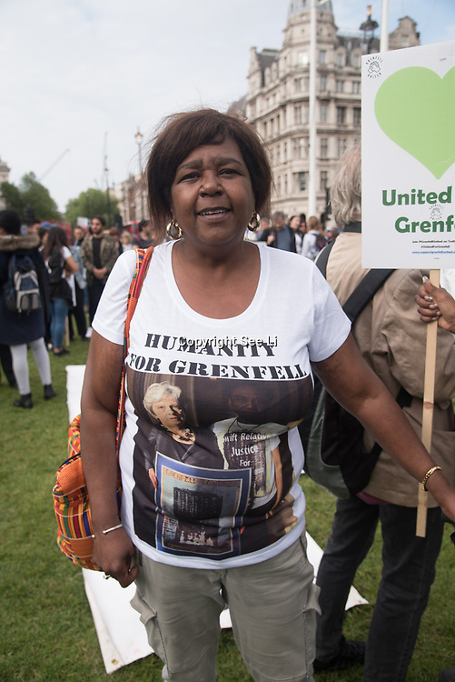 Grenfell United Survivors, Bereaved families and the community of Grenfell demand justice for the Grenfell victims and survival and safer housing ahead Parliamentary Debate Rally on 14th May 2018 at Parliament Square, London, UK