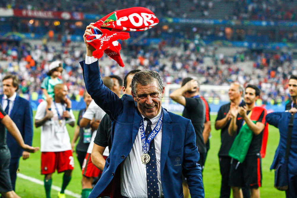 Fernando Santos, team coach of the portuguese national squad and other portuguese players celebrating the winning of Euro Football Championship after Portugal beat France on extra-time by 1-0, in Saint Denis stadium in Paris.