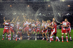 The Gloucester team celebrate becoming European Rugby Challenge Cup winners - Photo mandatory by-line: Patrick Khachfe/JMP - Mobile: 07966 386802 01/05/2015 - SPORT - RUGBY UNION - London - The Twickenham Stoop - Edinburgh Rugby v Gloucester Rugby - European Rugby Challenge Cup Final