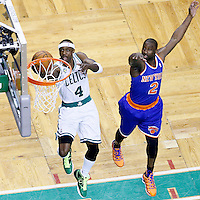 26 April 2013: Boston Celtics shooting guard Jason Terry (4) goes for the layup past New York Knicks point guard Raymond Felton (2) during Game Three of the Eastern Conference Quarterfinals of the 2013 NBA Playoffs at the TD Garden, Boston, Massachusetts, USA.