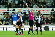 Referee Martin Atkinson shows Jonjo Shelvey (#8) of Newcastle United a red card during the Premier League match between Newcastle United and Everton at St. James's Park, Newcastle, England on 13 December 2017. Photo by Craig Doyle.