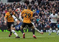 Football - 2019 / 2020 Premier League - Tottenham Hotspur vs. Wolverhampton Wanderers<br /> <br /> Dele Alli (Tottenham FC) tries an overhead kick as Ruben Vinagre (Wolverhampton Wanderers) defends at The Tottenham Hotspur Stadium.<br /> <br /> COLORSPORT/DANIEL BEARHAM