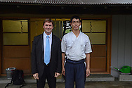 Japanese Sword Smith, Muneyasu, poses with Japanese Sword specialist, Paul Martin, at his workshop. Saitama, Japan